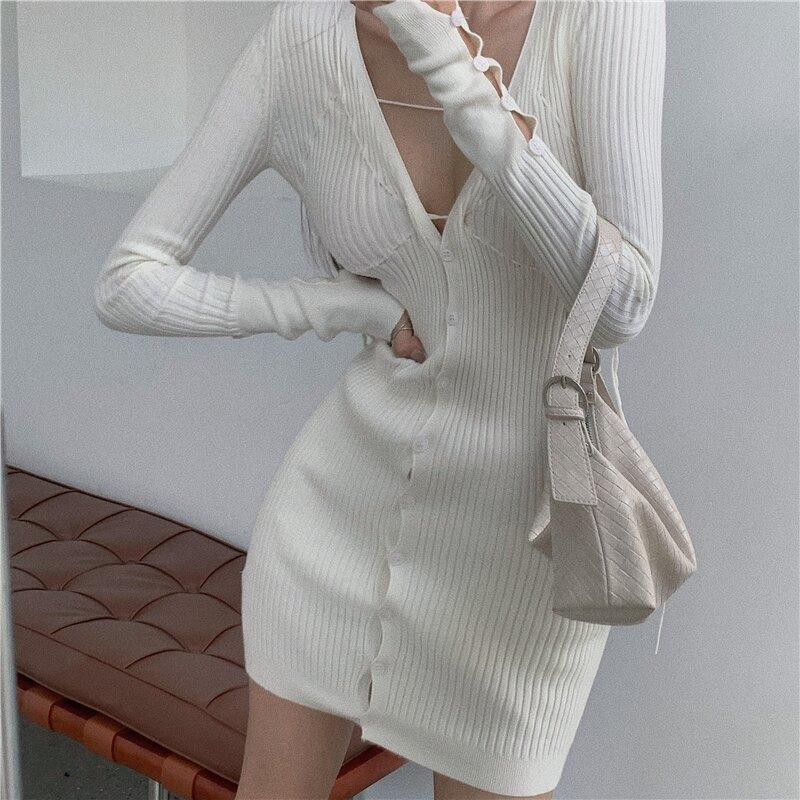 年秋裝新款法式性感V領長袖針織連衣裙氣質收腰包臀裙子女裝