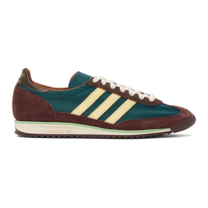 Wales Bonner 绿色 and 酒红色 adidas Originals 联名 SL72 运动鞋