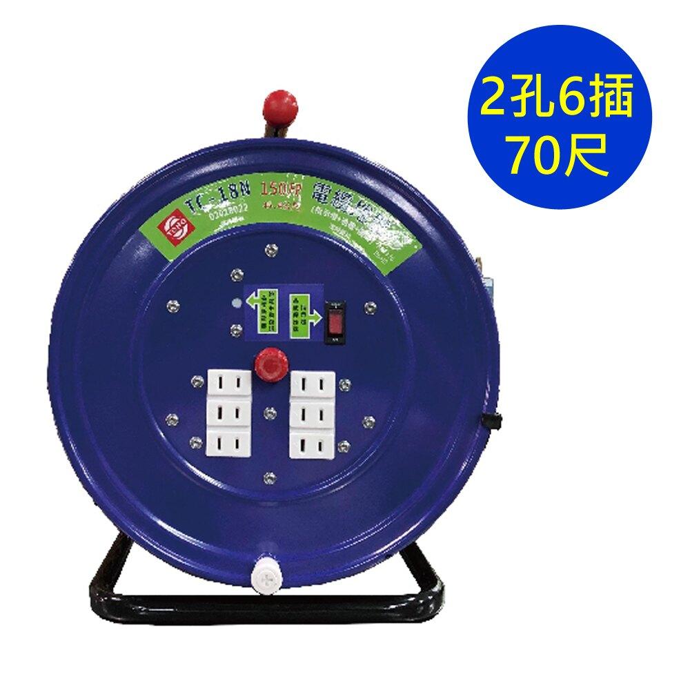 【史代新文具】東乾 TC-18SN70 尺2孔6插電鐵輪座電纜捲盤