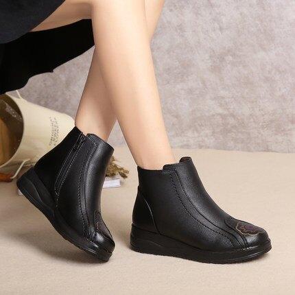 雪靴 媽媽棉鞋中老年短靴刷毛保暖軟底防滑皮鞋老人奶奶鞋中年女鞋冬季【xy122】