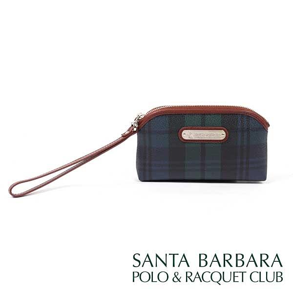 【南紡購物中心】SANTA BARBARA POLO & RACQUET CLUB -經典綠格手腕袋零錢包