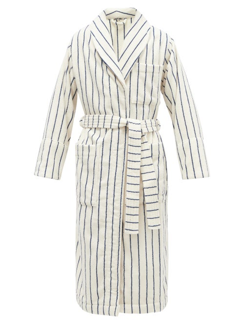 Tekla - Striped Hooded Organic-cotton Terry Bathrobe - Mens - Cream