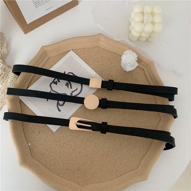 韓國新款黑色細腰帶女ins風配裙子裝飾時尚百搭復古韓版小皮帶窄