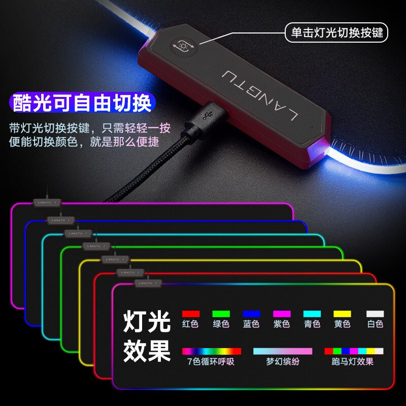 發光滑鼠墊 RGB發光桌墊超大滑鼠墊游戲電競炫彩鎖邊防水布面星空鍵盤滑鼠墊加大加厚防滑LED燈光光污染usb斷電記憶【xy223】
