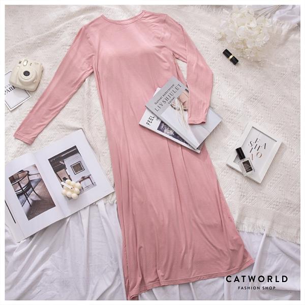 Catworld 莫代爾居家長袖BRA睡衣洋裝【18809096】‧M-2XL