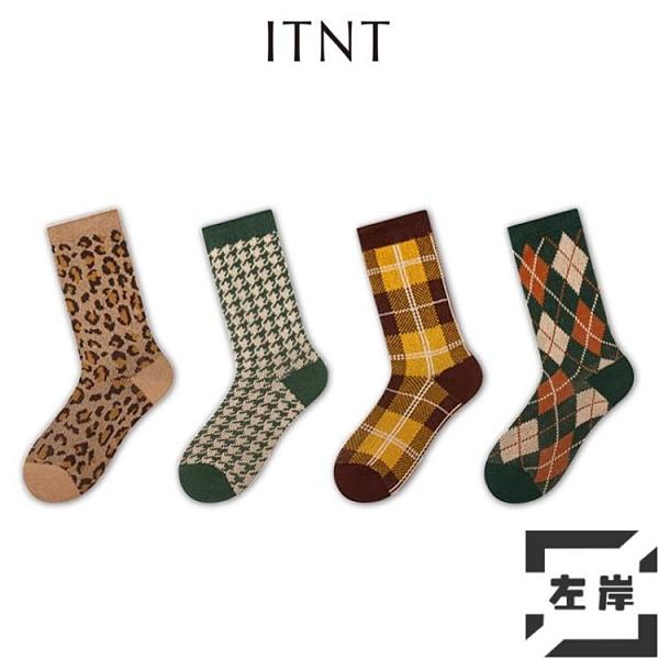 3雙 襪子女中筒襪潮流純棉秋冬長襪復古豹紋格子堆堆襪【左岸男裝】
