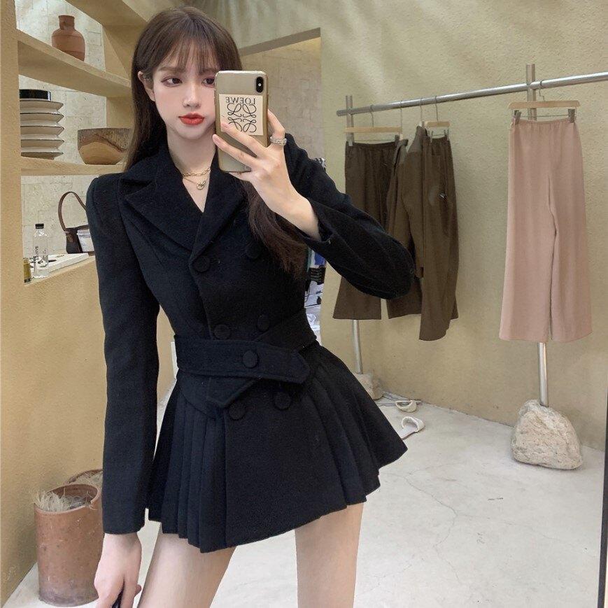 年秋冬季新款設計感百褶毛呢外套氣質長袖中長款西裝上衣女裝