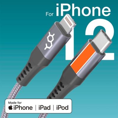 DAUSEN 多巴胺iPhone 12 系列專用 四股編織TYPE-C PD to 蘋果高速充電/傳輸線