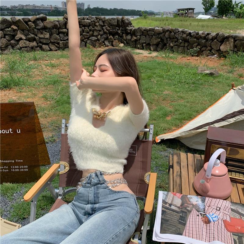 秋季新款韓版鏤空鏈條V領短袖上衣短款露臍修身顯瘦毛衣女裝