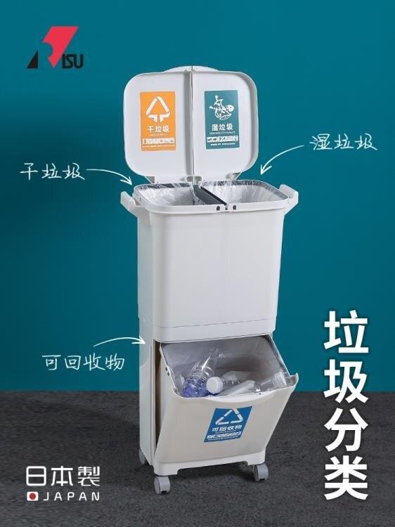 【快速出貨】智慧垃圾桶 RISU日本進口雙層干濕分離垃圾桶家用廚房分類垃圾桶創意帶蓋大號  凱斯頓 新年春節送禮