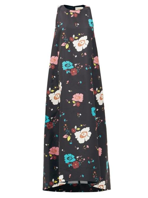 La DoubleJ - Juno Giardino Nero-print Faille Dress - Womens - Black Multi
