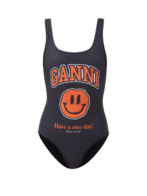 Ganni - Smiling Face-print Recycled-fibre Swimsuit - Womens - Black Print