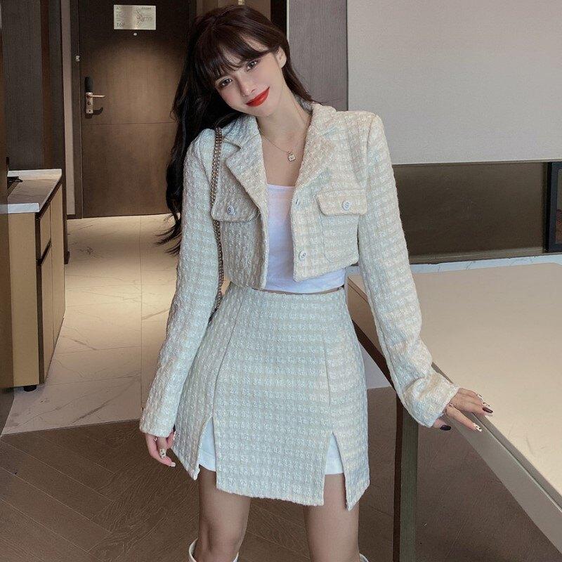 秋冬季新款氣質名媛短款外套+開叉短裙褲兩件套時尚套裝女裝