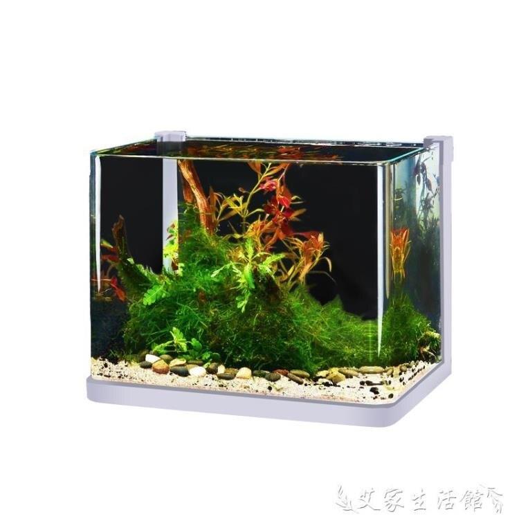 烏龜缸超白玻璃魚缸小型客廳桌面創意水族箱懶人水草缸造景金斗魚烏龜缸 多色小屋