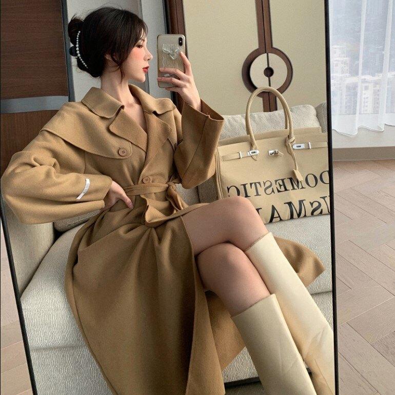 秋季新款韓版翻領長袖長袖寬松直筒毛呢外套中長款風衣女裝潮