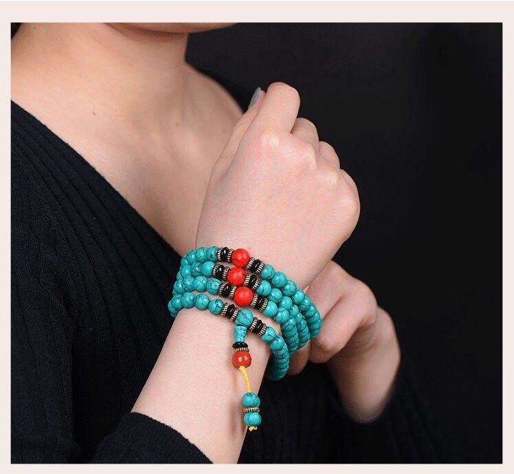 民族風項鏈綠松石手鏈復古中國風手鐲藏式108顆佛珠念珠手串飾品