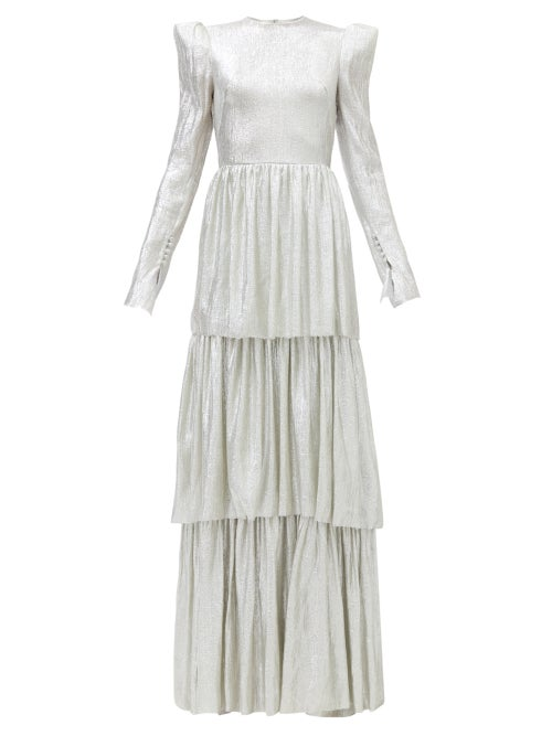 The Vampire's Wife - The Unrequited Tiered Wool-blend Lamé Dress - Womens - Silver