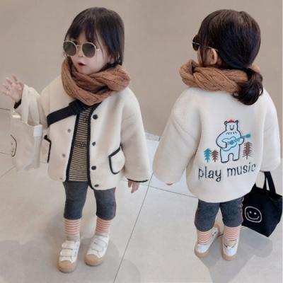 小衣衫童裝 冬季男女童吉他小熊羊羔絨黑色邊外套1081204