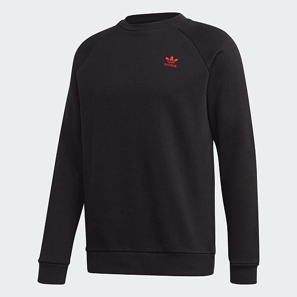 Adidas Originals essential CREW 男裝 長袖 T恤 大學T 休閒 純棉 三葉草 黑【運動世界】GD2540
