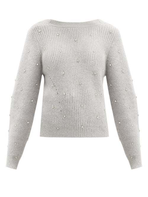 Self-portrait - Crystal-embellished V-back Ribbed-knit Sweater - Womens - Light Grey