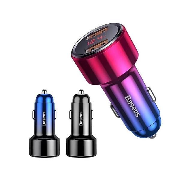 倍思 Baseus 電壓電流+雙QC45W 6A車充 (黑、藍、紅)