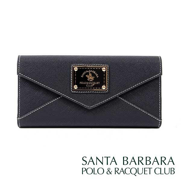 【南紡購物中心】SANTA BARBARA POLO & RACQUET CLUB -幸福微糖信封式長夾/華麗個性黑