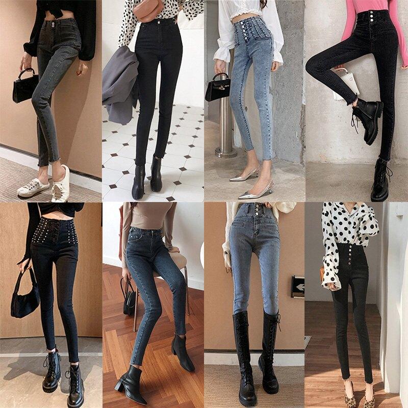 黑色牛仔褲高腰顯瘦女春季新款韓版百搭緊身褲復古小腳長褲潮