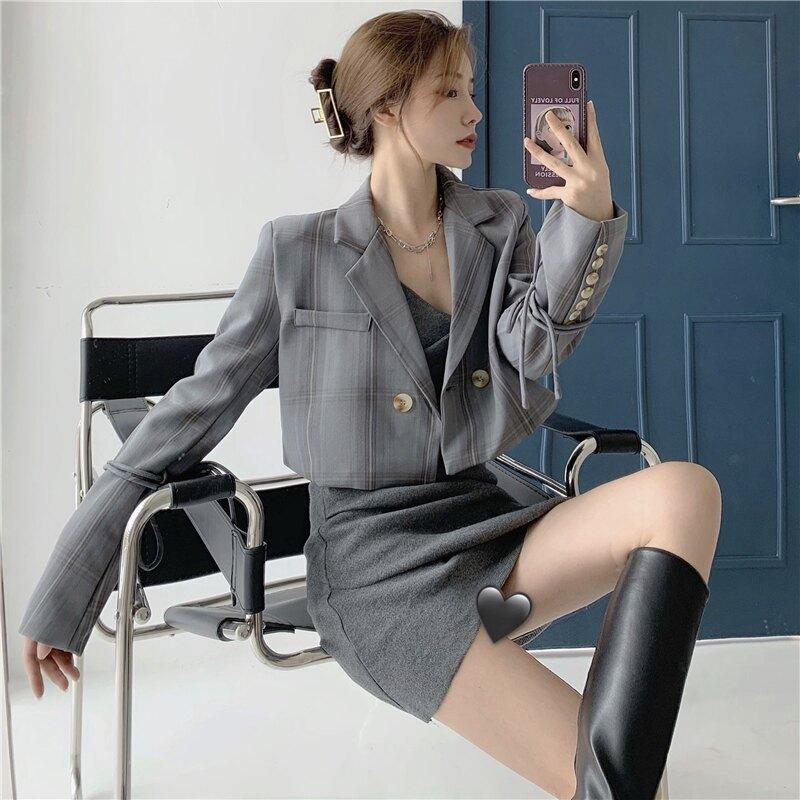 年秋裝新款格子短款西裝外套+性感吊帶裙兩件套時尚套裝女裝