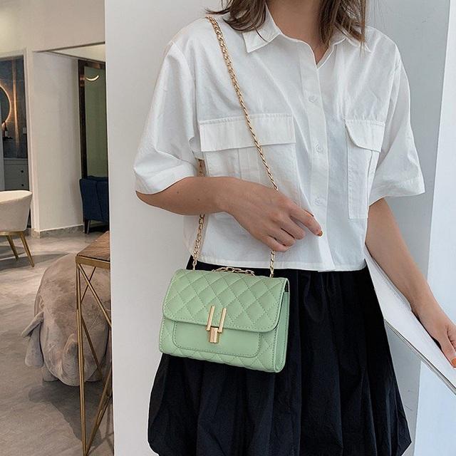【U-SING】 菱格小香風單肩鏈條包 果綠色