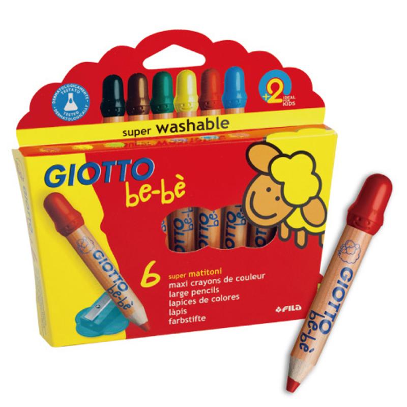 【義大利GIOTTO】可洗式寶寶木質蠟筆/6色
