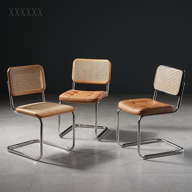 中古風藤編餐椅家用靠背小戶型復古餐廳桌椅組合北歐簡約辦公椅子