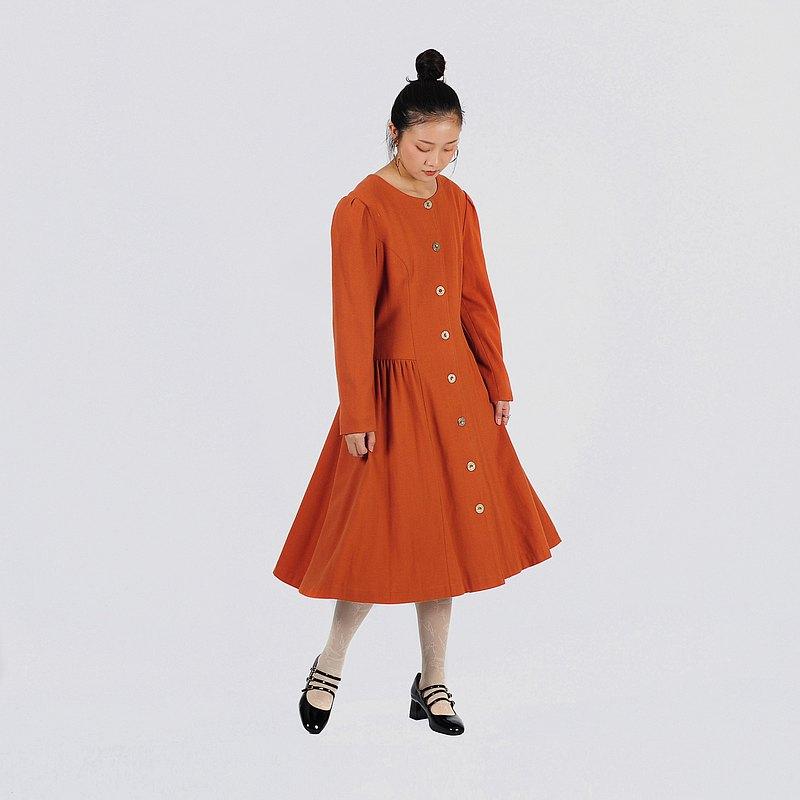 【蛋植物古著】秋光圓舞絨面古著洋裝