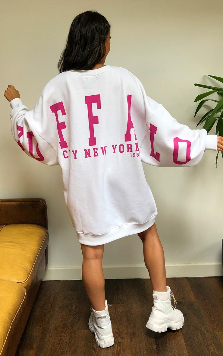 White Buffalo New York Slogan Sweat Jumper Dress