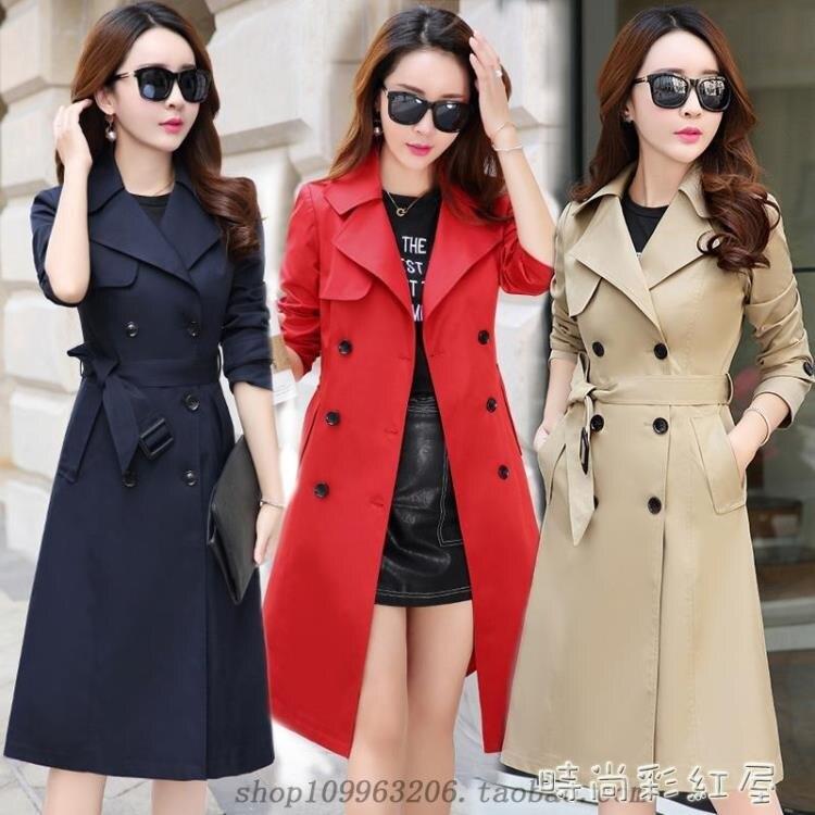 時尚風衣女中長款韓版春秋2020新款女裝小個子風衣修身流行外套