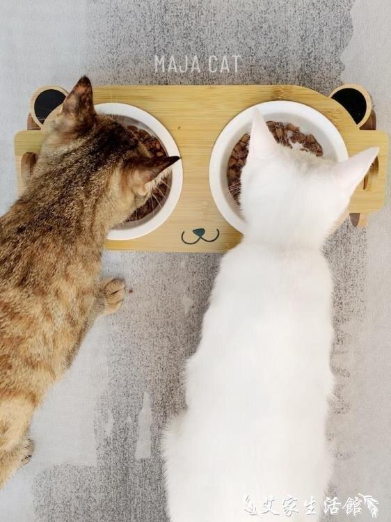 貓碗架 新品貓碗架陶瓷雙碗貓食盆貓咪碗保護頸椎貓糧喝水碗幼貓竹木碗架 多色小屋 交換禮物