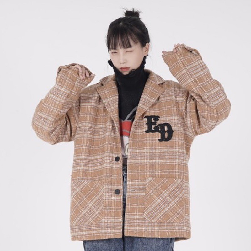 badjob 2020秋冬 格紋 毛呢 刺繡 內襯 寬版 西裝外套