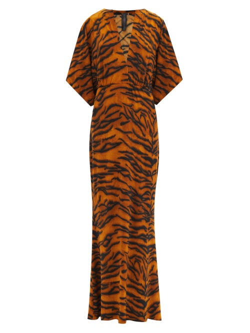 Norma Kamali - Obie V-neck Tiger-print Jersey Dress - Womens - Animal