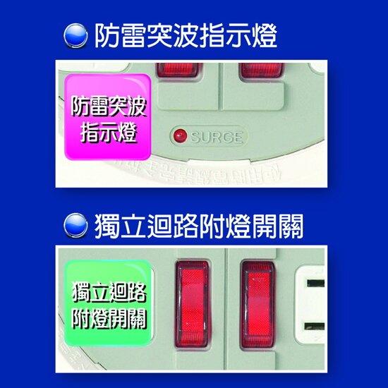 Double Sun 輕巧型家庭輪座 DS-709B-8M 電源延長線 8公尺 防雷突波指示燈 安全開關