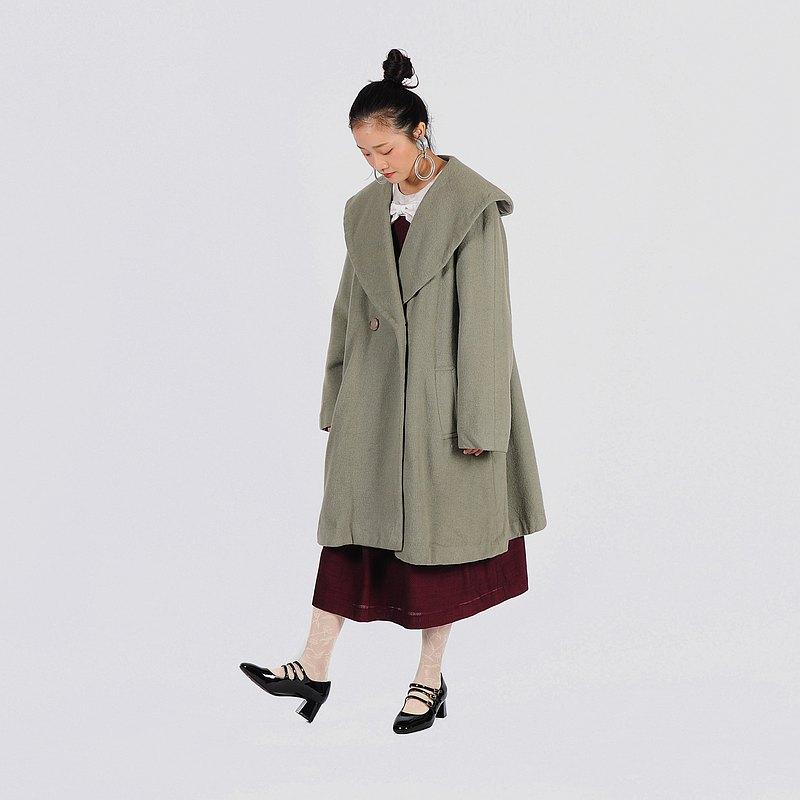 【蛋植物古著】蘚苔雨季翻領毛料古著大衣