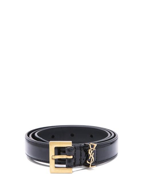 Saint Laurent - Ysl-plaque Keeper-loop Leather Belt - Womens - Black