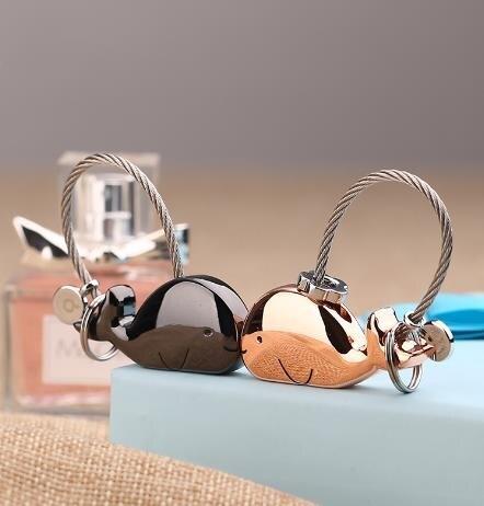鑰匙圈 情侶款鑰匙扣鯨魚鑰匙鏈一對感應男創意生日禮物女簡約定制掛件 萬聖節狂歡交換禮物