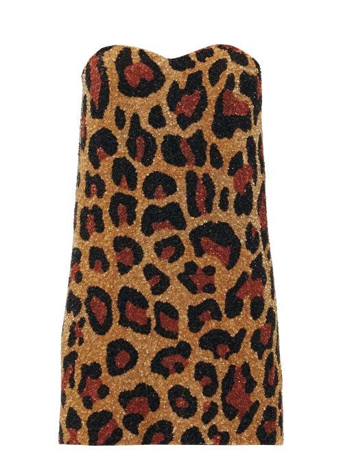 Ashish - Strapless Leopard-pattern Sequin Mini Dress - Womens - Leopard