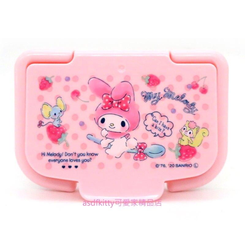 asdfkitty*美樂蒂粉紅湯匙濕紙巾蓋-可重複黏貼-隨身包.溼拖巾.廚房油污濕巾...也可使用-日本正版商品