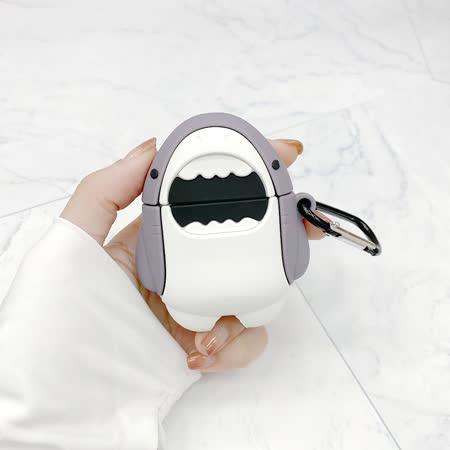 AdpE AirPods 1代/2代 專用 鯊魚造型 矽膠保護套(附吊環)