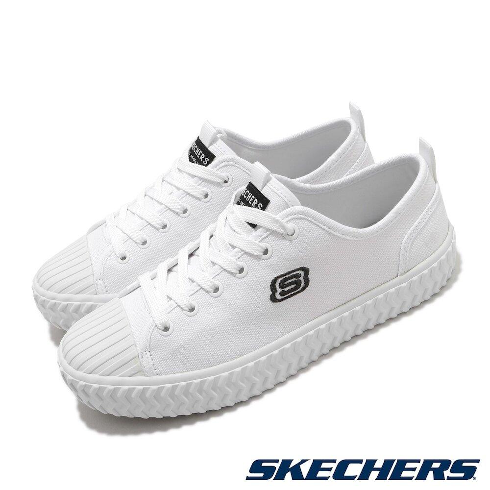 SKECHERS 休閒鞋 V Lites 復古 素色 女鞋 帆布鞋 止滑 耐磨 穿搭推薦 白 黑 [66666262WHT]