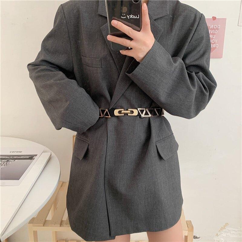 時髦洋氣歐美彈力三角形拼接松緊腰帶女配西裝外套連衣裙裝飾腰封