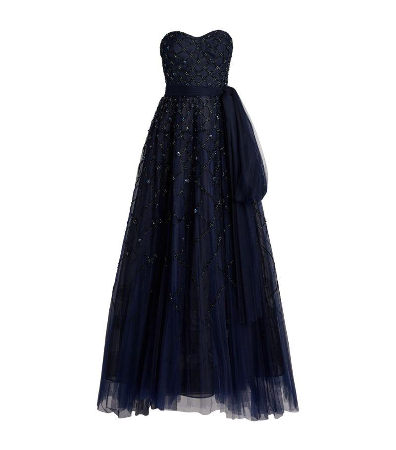Carolina Herrera Beaded Strapless Gown