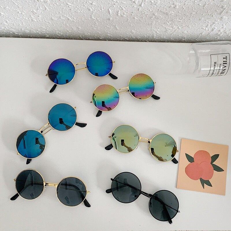 ins港風小圓形復古太陽鏡嘻哈蹦迪墨鏡男女個性太子眼鏡圓框裝飾