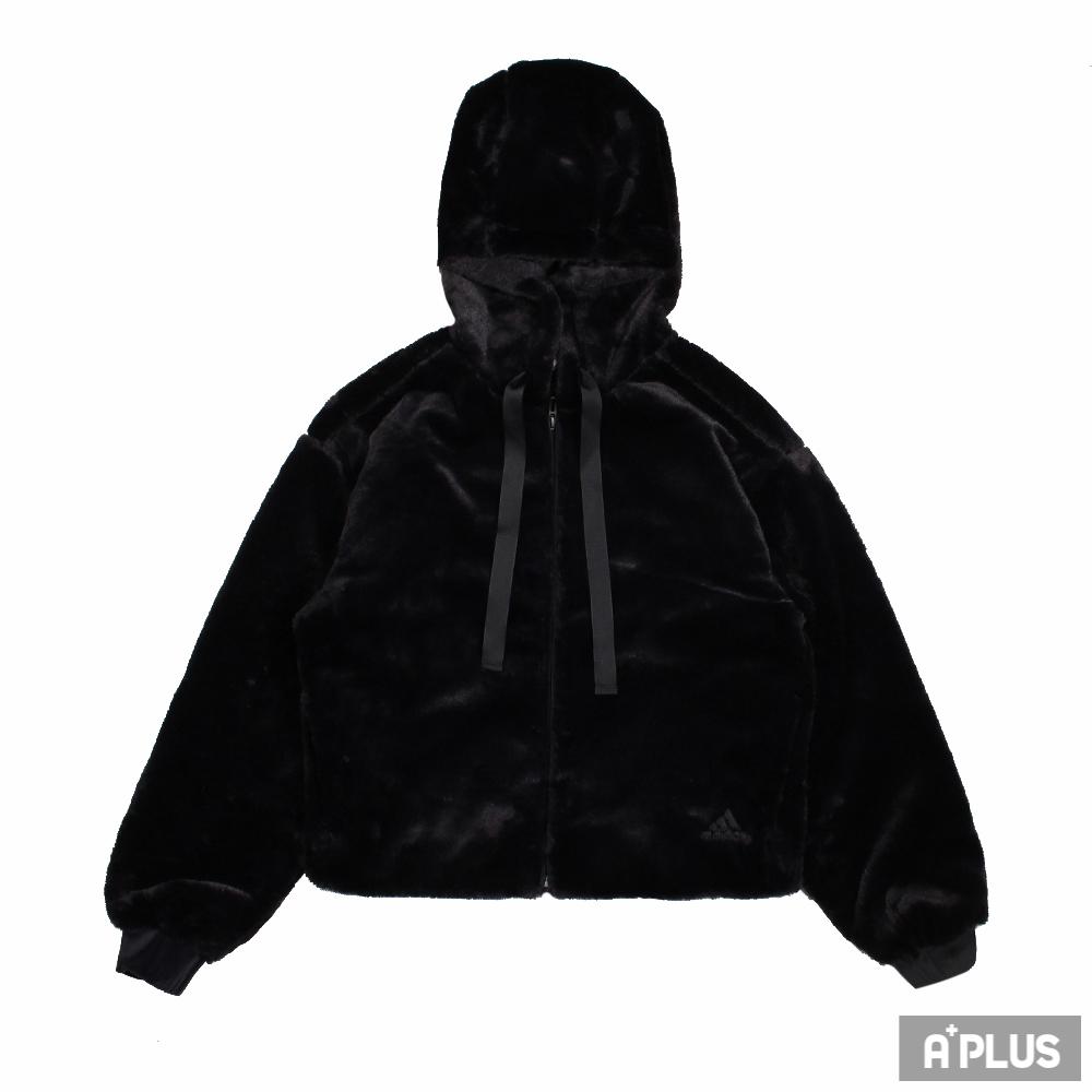 ADIDAS 女棉質運動外套(連帽) STYLE FUR JKT 舒適 保暖 休閒 穿搭 落肩 黑-GM1468