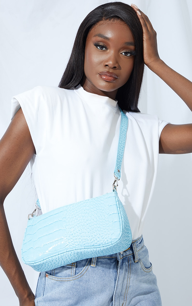 Blue Croc Shoulder Bag